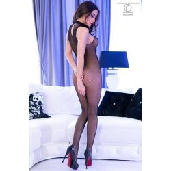 CR 4308 S/M Black High Neck Bodystocking