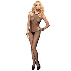 SEAMLESS FISHNET HALTER BODYSTOCKING O/S BLK