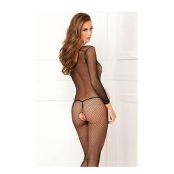 Deep-V Longsleeve Fishnet Bodystocking