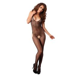 7289031 SEAMLESS FISHNET HALTER SUSPENDER BODYSTOCKINGS O/S