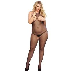 728350Q PLUS SIZE FISHNET HALTER BODYSTOCKING OPEN PLUS SI B