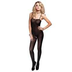 728208 OPAQUE BODY STOCKING W/SPAGHETTI STRAPS O/S BLK