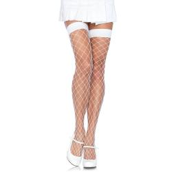 Fence Net Thigh Highs - WHITE - O/S - HOSIERY