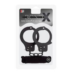 BONDX METAL CUFFS & LOVE ROPE SET-BLACK  T