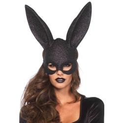 Glitter masquerade rabbit mask black O/S