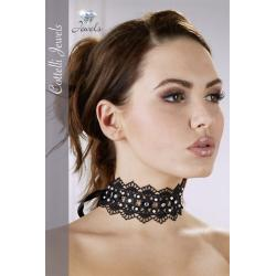 Embroidered Choker+Rhinestones