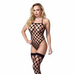Big hole body stocking with stockings included\ Black\ OS