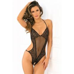 CROTCHLESS MESH & LACE TEDDY, BLACK S/M